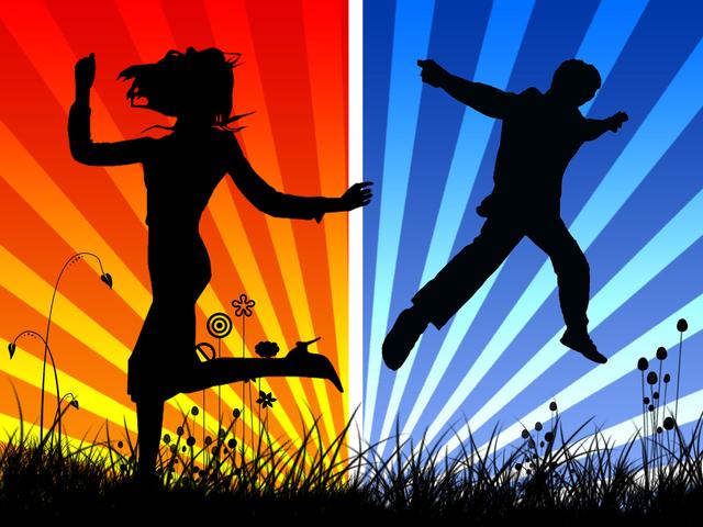 siluety dvou skákajících postav